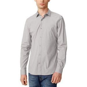 New ARMANI EXCHANGE Gray Slim Stretch Shirt Large